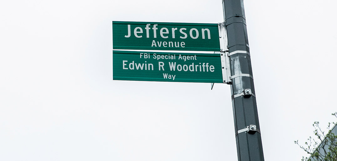 The sign showing the new co-name of Jefferson Avenue, Edwin R. Woodriffe Way