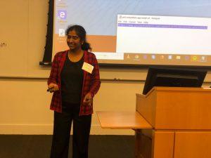 Lecturer Usha Sankar giving a presentation