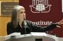 Amy Goodman speaks from the podium at McNally Amphitheatre