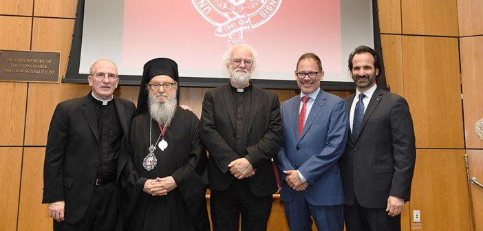 Joseph M. McShane, Archbishop Demetrios, Rowan Williams, George Demacopoulas and Aristotle Papanikolaou stand together on stage.