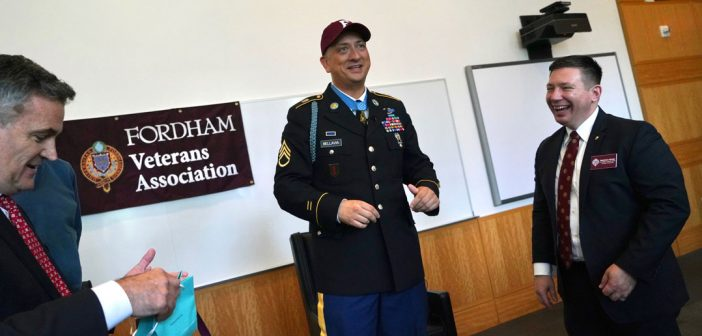 Medal of Honor Recipient Speaks at a Fordham Fireside Chat