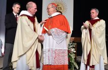 Fordham president Joseph M. McShane congratulates His Eminence Jaime Lucas Cardinal Ortega y Alamino