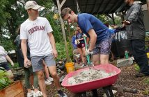 Students working in a Bronx garden on a rainy day for Urban Plunge