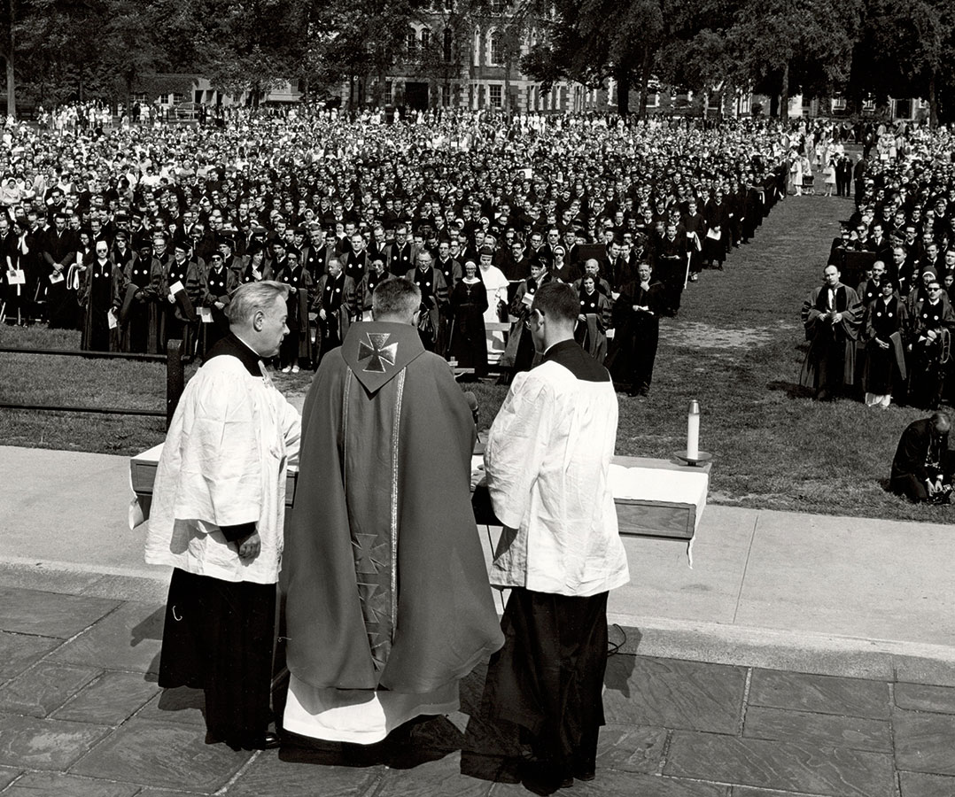 On June 8, 1968, Fordham's commencement ceremony included a requiem Mass for Kennedy, who was assassinated on June 6. (Photo courtesy of the Fordham Archives)