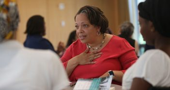 Trustee Valerie Rainford meets with Bronx high schoolers at Rose Hill