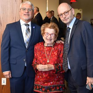 Davidson, Dr. Ruth Westheimer, and Stephen Smith, executive director USC Shoah Foundation and UNESCO Chair on Genocide Education