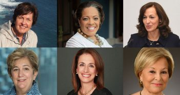 A composite image of six of Fordham's Pioneering Women in Philanthropy. Clockwise from top left: Barbara Dane, Valerie Rainford, Susan Conley Salice, Carolyn Dursi Cunniffe, Rose Marie Bravo, and Donna Smolens.