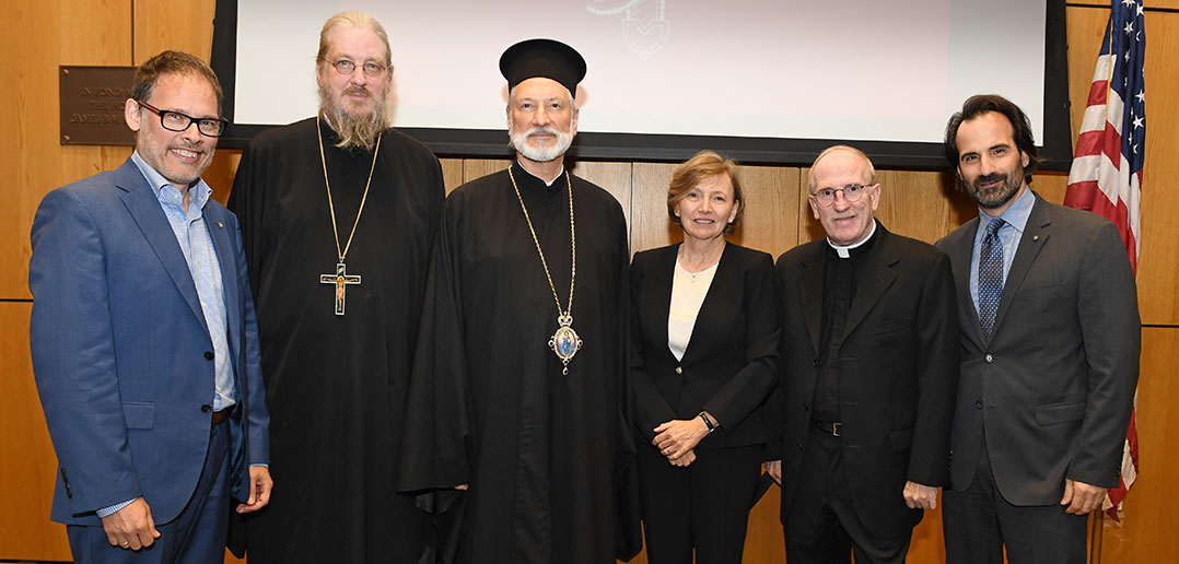 Father Behr with co-directors of Orthodox Christian Studies Center as well asBishop Inirinej of the Serbian Orthodox Diocese of Eastern America and Father McShane