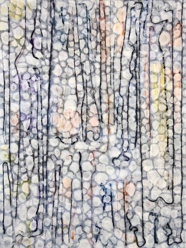 "An image of ""Journeys,"" a painting from abstract artist Farida Hughes' ""Common Threads"" series"