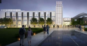 Rendering of the new campus center at night.