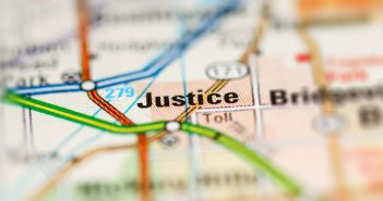 map with the location justice highighted