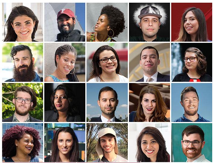 A composite image of 20 recent Fordham graduates
