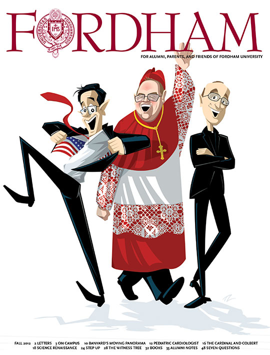 Image of the cover of the fall 2012 issue of Fordham Magazine featuring an illustration of Stephen Colbert, Cardinal Timothy Dolan, and James Martin, S.J.