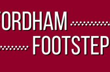 The logo of a new podcast at Fordham called Fordham Footsteps