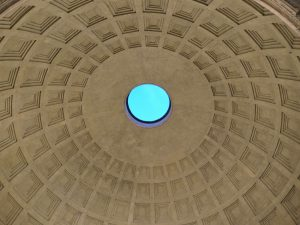 The Pantheon's oculus (a hole in a building ceiling that opens to the sky)