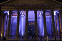 The Pantheon lit in purple light at night