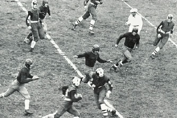 """Fordham's 1931 game against Bucknell was especially brutal. John Szymanski and Connie Murphy were critically hurt. Szymanski recovered, but Murphy's injury proved fatal. """"When the shadows fell upon the Polo Grounds,"""" wrote the authors of the 1932 Maroon yearbook, """"we had no idea that we had lost more than a football game."""""""