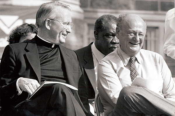 In 1988, New York City Mayor Ed Koch (right) appointed Father O'Hare the founding chair of the groundbreaking New York City Campaign Finance Board (CFB).