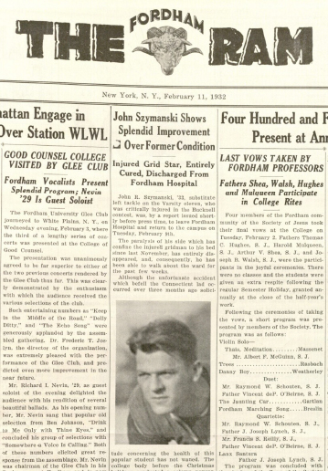 """Szymanski's recovery was front-page news in the Feb. 11, 1932, issue of The Ram. """"The paralysis of his side ... has entirely disappeared, and, consequently, he has been able to walk around the ward for the past few weeks."""" The student paper also reported that during the holidays, Szymanski received """"many baskets of fruit and boxes of candy,"""" and 257 """"greeting cards sent by undergraduates, alumni and well-wishers."""""""