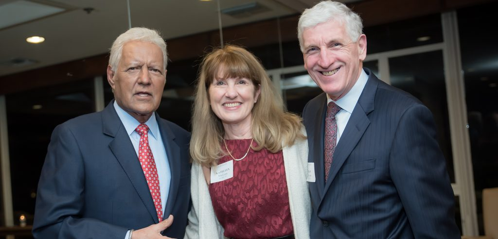 Alex Trebek with Kathleen MacLean, FCRH '75 and Trustee Brian MacLean, FCRH '75