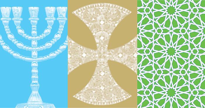 illustration of a menorah, cross, and geometric islamic pattern