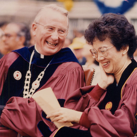 Father O'Hare with President Corazon Aquino of the Philippines