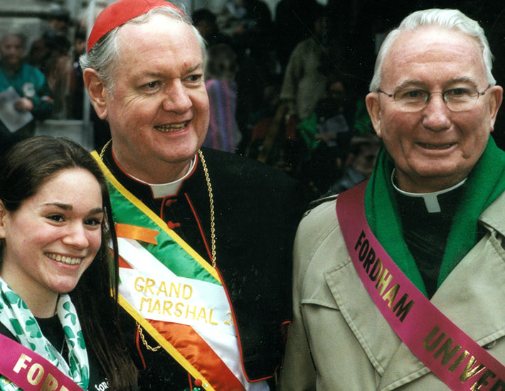 At the St. Patrick's Day Parade with Cardinal Edward Egan