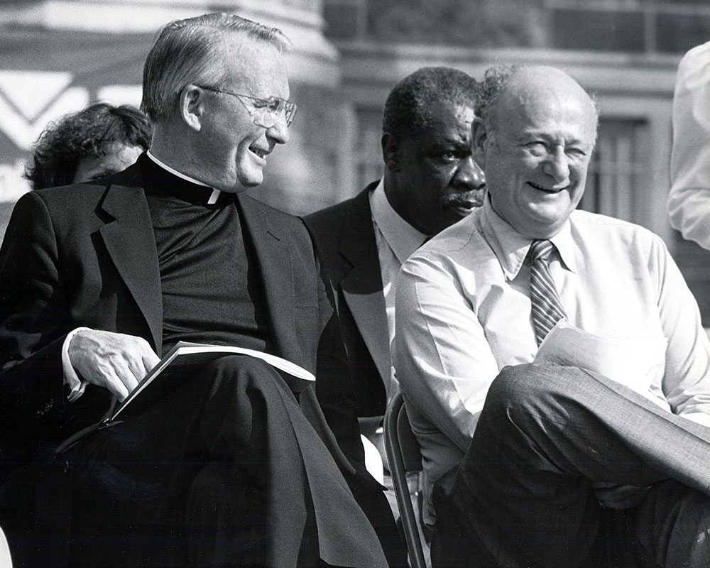 In 1988, New York City Mayor Ed Koch (right) appointed Father O'Hare the founding chair of the groundbreaking New York City Campaign Finance Board.