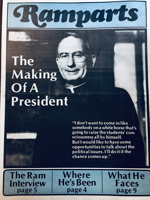 "The front cover of a Ramparts, a special section of a 1984 issue of The Fordham Ram, featuring a picture of Fordham President Father Joseph A. O'Hare and the headline ""The Making of a President"""