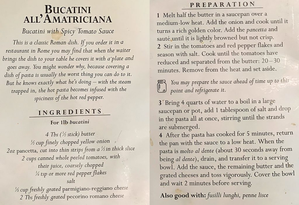 A stained recipe for Bucatini al'amatriciana from Laura Auricchio's copy of The Classic Pasta Cookbook