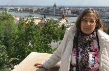 Carolyn Pagani in Budapest, with the Danube in the background.