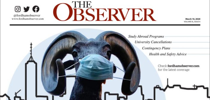 A ram wears a mask on the front page of a newspaper
