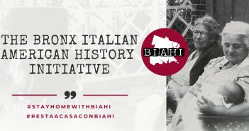 "The words ""The Bronx Italian American History Initiative"" beside a black-and-white photo of two women"