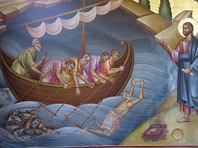 The Miraculous Catch of Fish, Unknown Romanian Iconographer