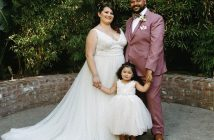 Fordham graduate Camille Sanchez and Julian Martinez on their wedding day with their daughter, Penelope