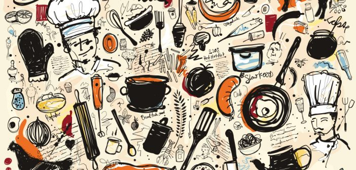 An illustration of food items and phrases.