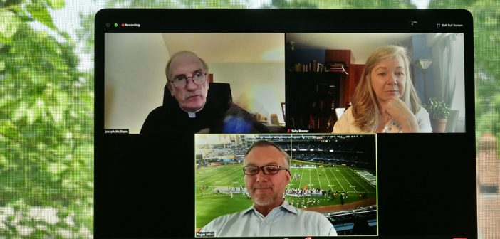 Father McShane, Sally Benner, and Roger Milici shown on screen during the virtual Jubilee 2020.