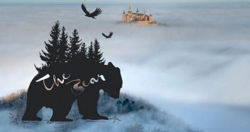 This illustration shows the silhouette of a bear among trees on a cloudy mountaintop with an image of a castle in the distance