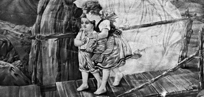 Detail of a black-and-white photo of an image of two children crossing a rickety bridge