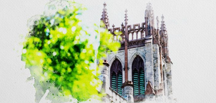 Watercolor image of the University Church.