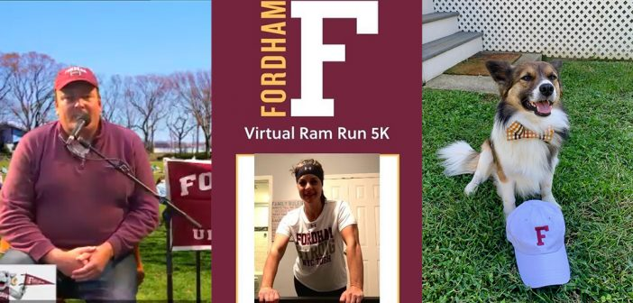 A composite image of Tim Tubridy hosting a Homecoming tailgate, Allison Farina posing after completing the 5K Ram Run, and a dog posing with a Fordham hat.