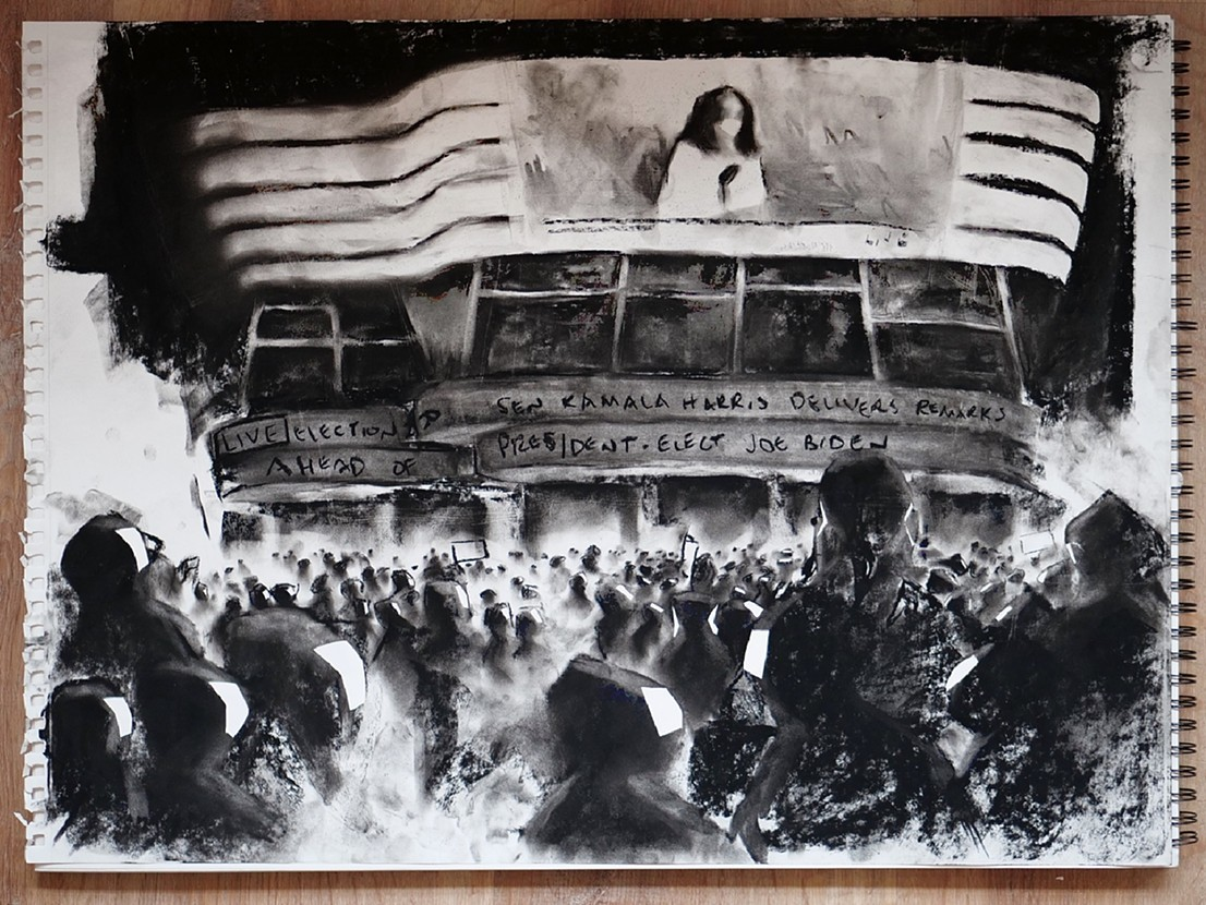 A black and white painting of a crowd of people looking at a giant TV screen