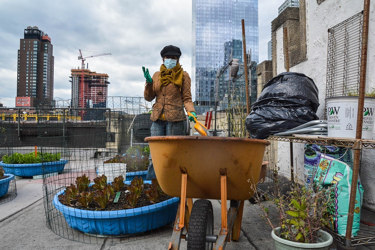 A woman wearing a mask stands on a rooftop garden in New York City.