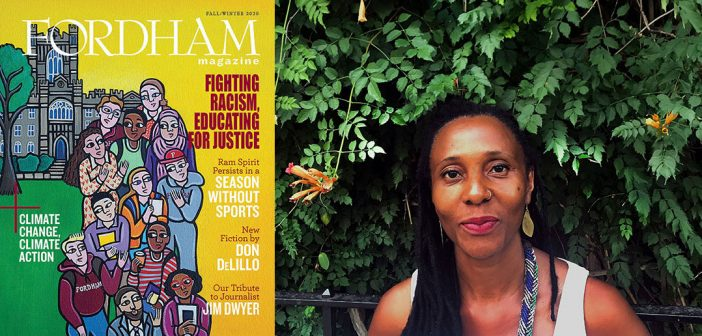 A composite image showing the cover of the fall/winter issue of Fordham Magazine and a portrait of Laura James, the artist who created the painting featured on the cover