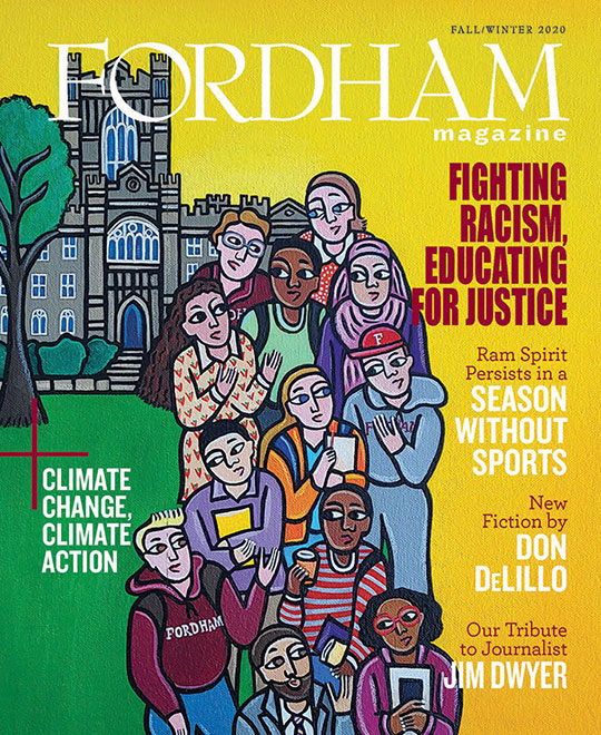 "An image of the cover of the fall/winter 2020 issue of Fordham Magazine, featuring an original painting, ""Together We Rise,"" by Laura James"