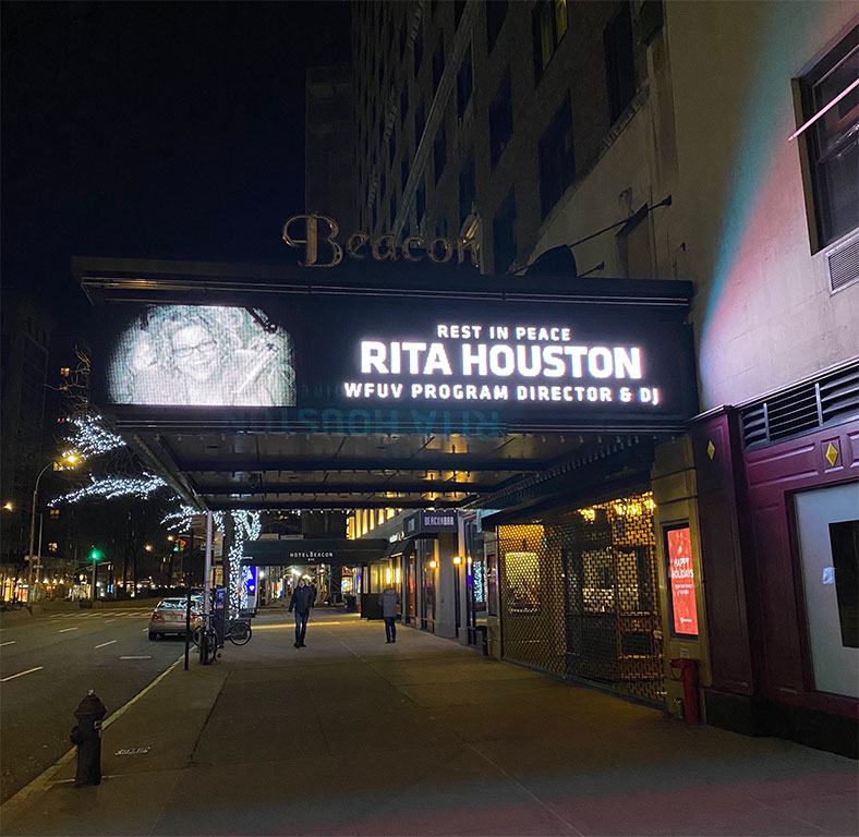 Beacon Theatre Marquee honoring Rita Houston