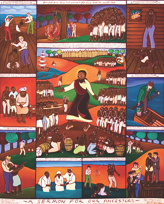 "An image of ""A Sermon for Our Ancestors,"" a 2006 painting by the artist Laura James"