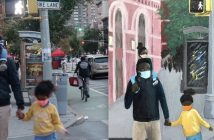 A side-by-side collage of a photograph of a father and his daughters on a street, wearing masks, and a painted version of that photo
