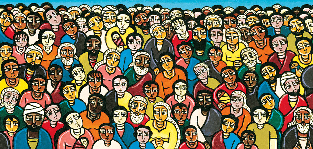 """Detail from the painting """"Love One Another"""" (2000) by Laura James"""