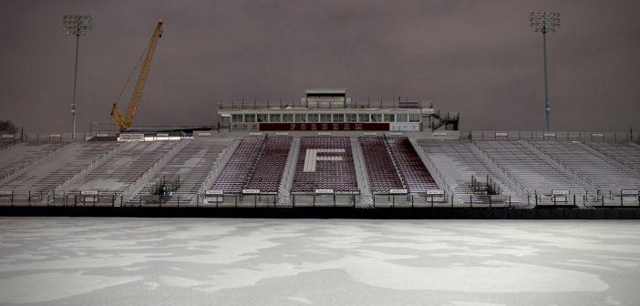 Fordham footbal field in the snow